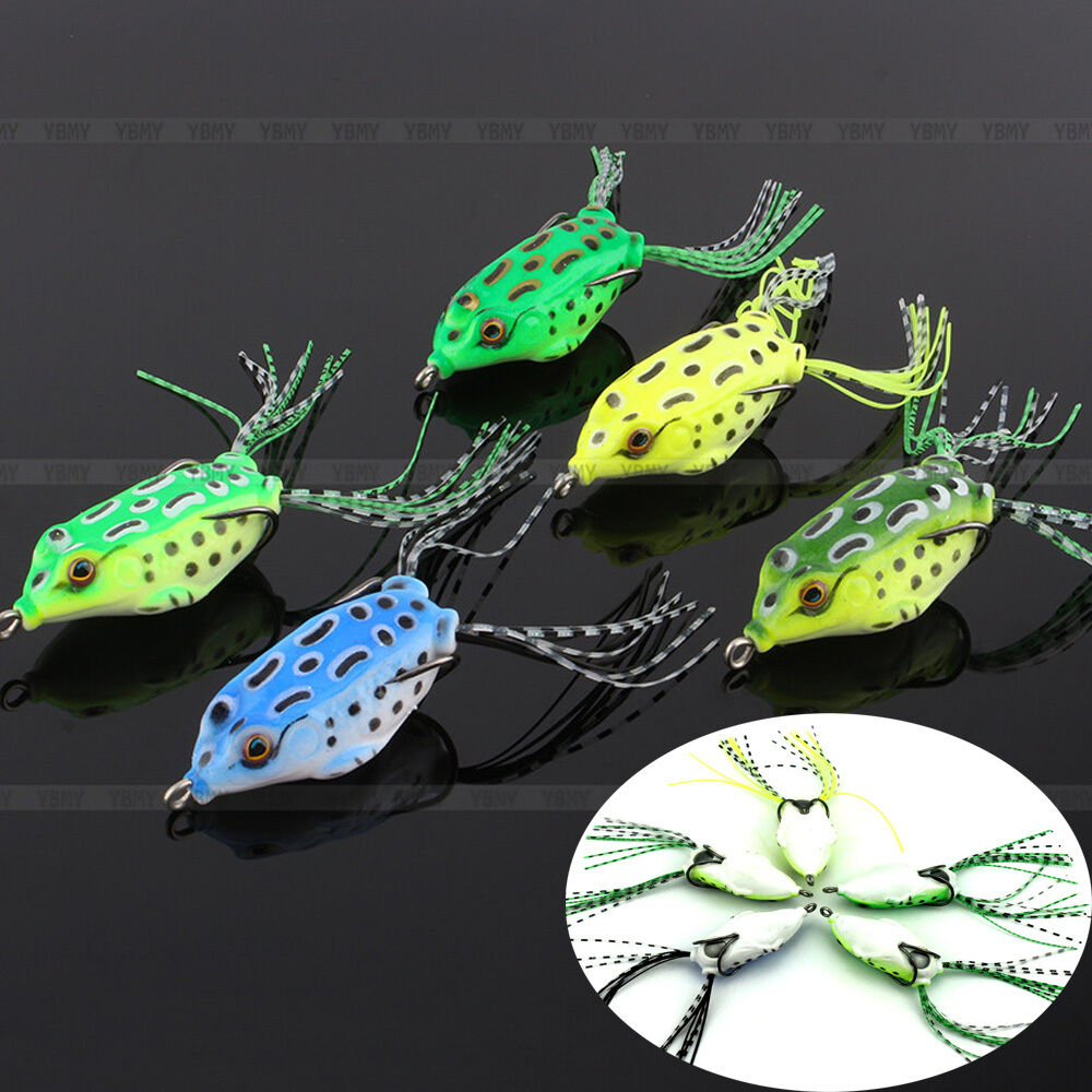 Hot outdoor soft frog topwater fishing lure crankbait for Top water frogs bass fishing