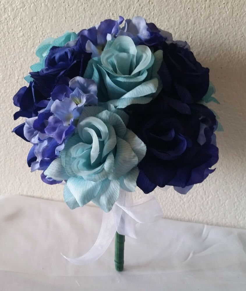 peacock royal blue aqua rose hydrangea bridal wedding bouquet boutonniere ebay. Black Bedroom Furniture Sets. Home Design Ideas