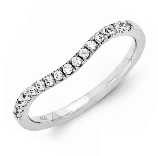 curved diamond wedding band ring ct round cut 14k white gold
