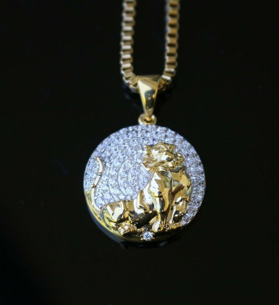 Mens gold iced out lab diamond mini lion pendant piece and