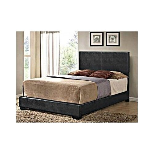 Black Full Size Bed Headboard Faux Leather Bedroom Furniture Dorm
