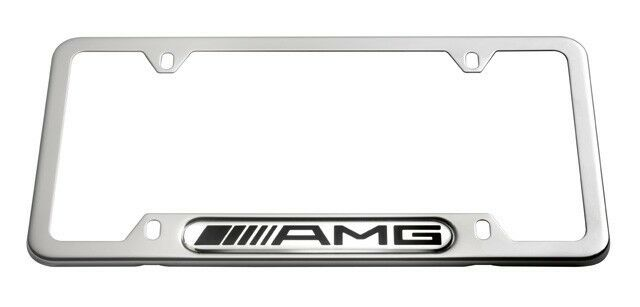 Oem genuine mercedes benz amg license plate frame polished for Mercedes benz license plate logo