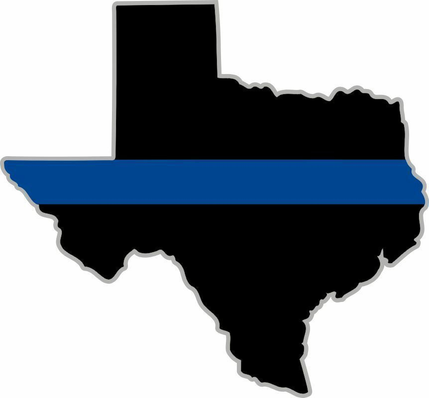 thin blue line state of texas decal with silver outline 4 x 4 3 reflective ebay. Black Bedroom Furniture Sets. Home Design Ideas