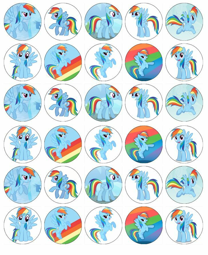 My Little Pony Rainbow Dash Cupcake Topper Edible Wafer ...