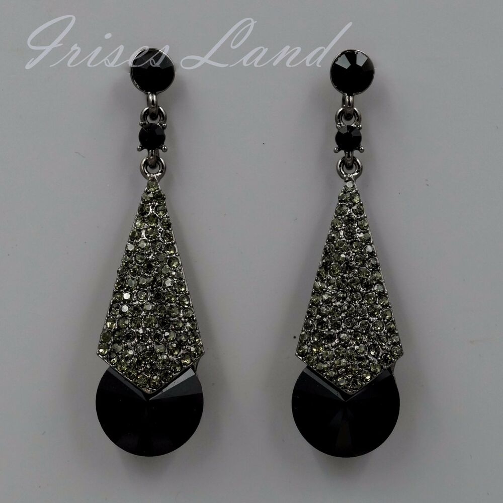 new alloy black rhinestone chandelier drop dangle