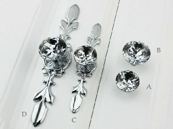 glass crystal dresser knobs drawer pulls cabinet knob back plate silver clear ebay. Black Bedroom Furniture Sets. Home Design Ideas