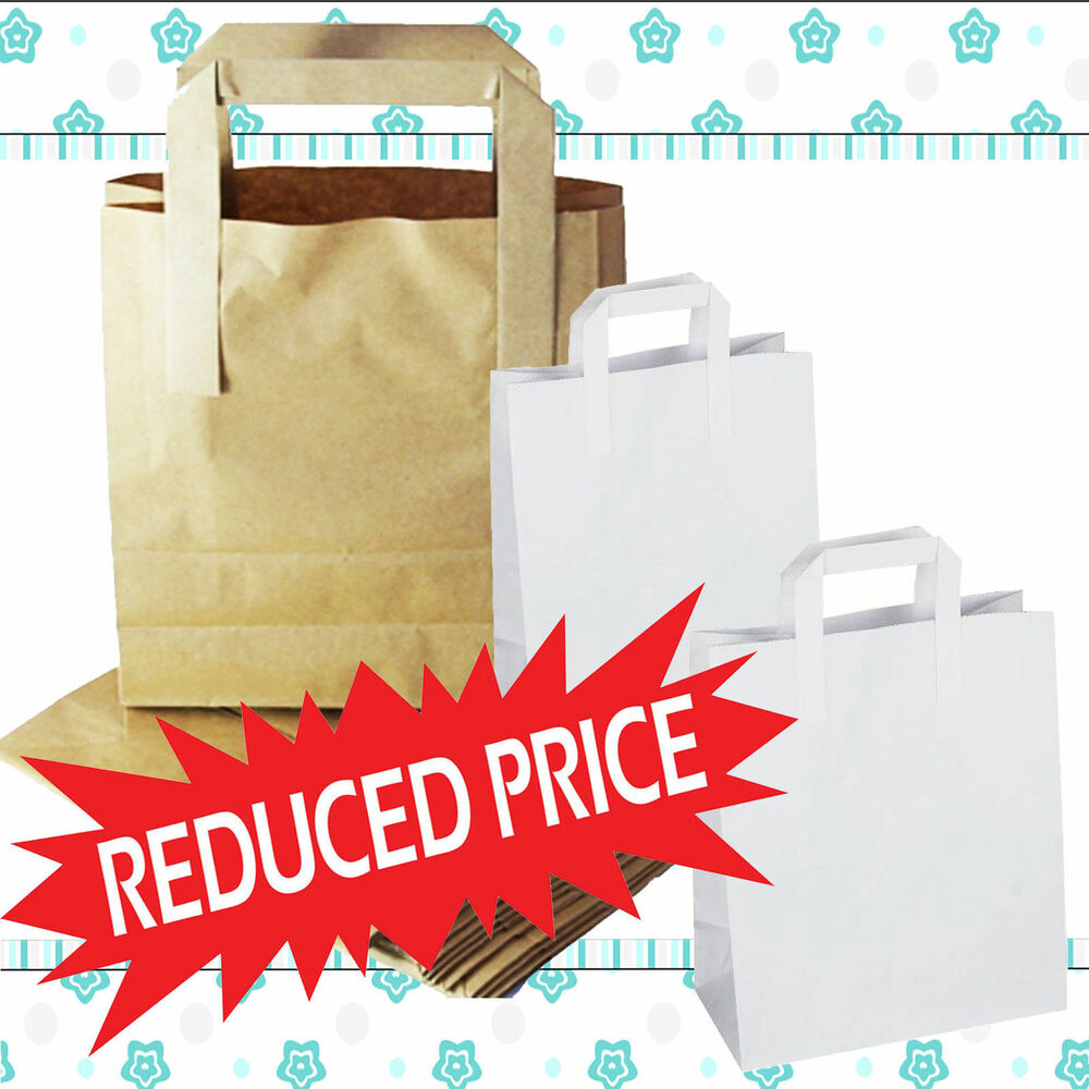 Kraft Paper Sos Carrier Bags Brown Or White With Flat