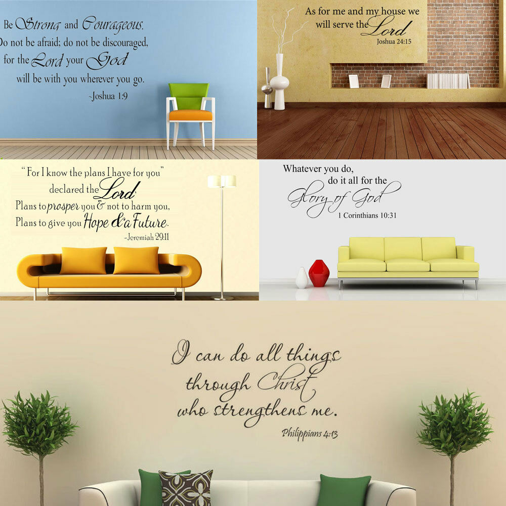 Bible wall decal scripture quote removable art vinyl diy for Home decorations on ebay