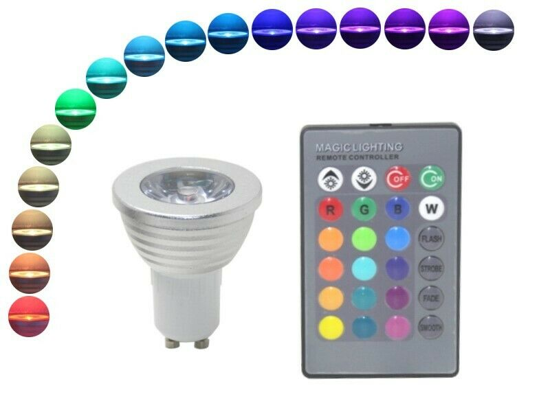 led strahler gu10 4w rgb mit fernbedienung 16 farben leuchtmittel 230v bunt ebay. Black Bedroom Furniture Sets. Home Design Ideas