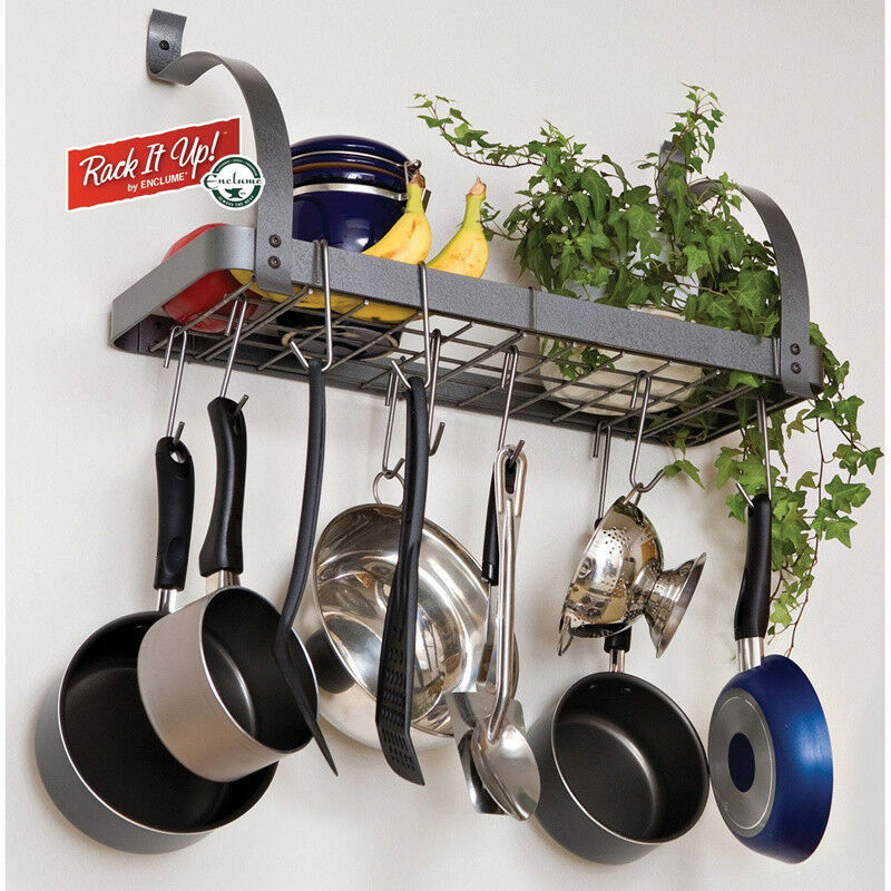 Pots and pans rack cookware hanger wall mount shelf for Pot racks for kitchen