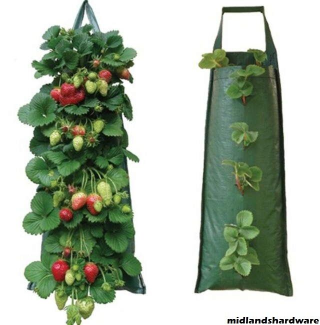 3 x fabric hanging planter grow bag pouch tomato herbs. Black Bedroom Furniture Sets. Home Design Ideas