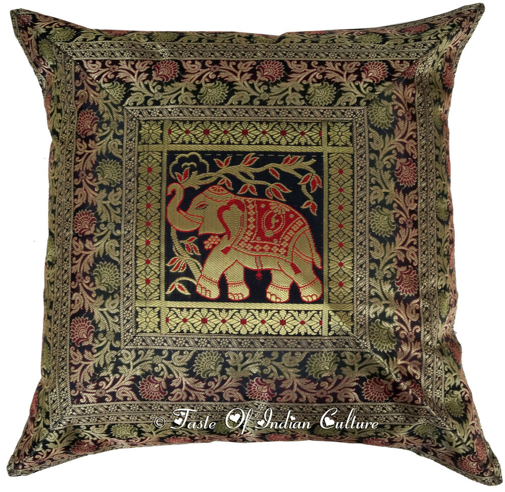 Black 24 Quot Pillow Cushion Cover Elephant Brocade Floor