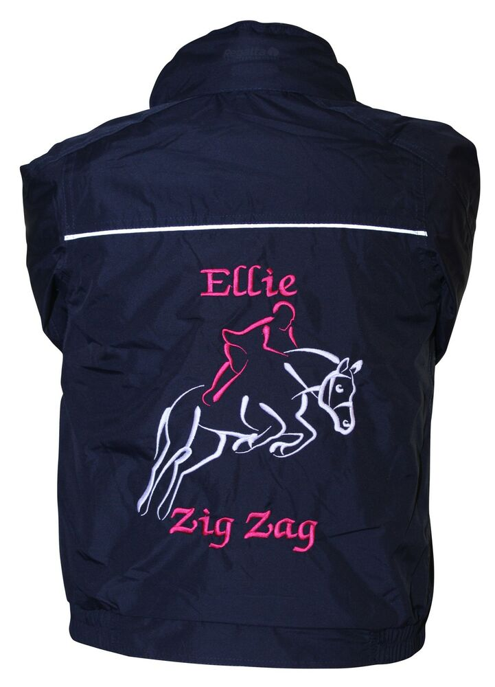 Personalised embroidered show jumping outline horse pony