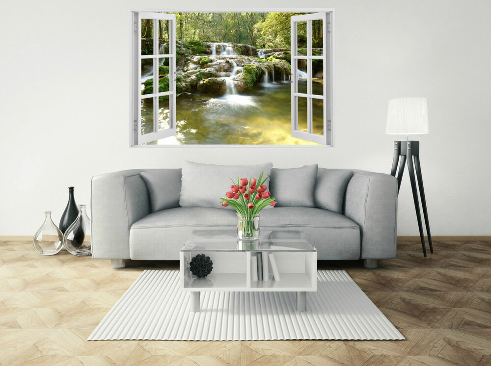 wasserfall natur 3d fenster ansicht riesige wandtattoo tapete vinyl art w84 ebay. Black Bedroom Furniture Sets. Home Design Ideas