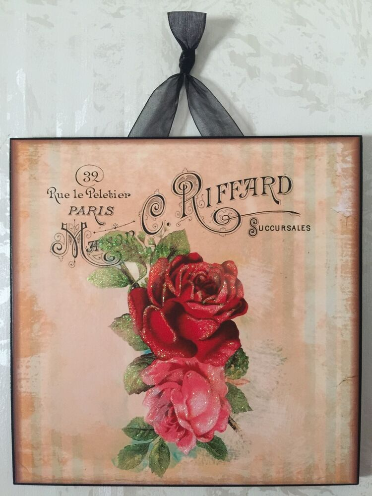 vintage paris shabby rose wall decor sign plaque french country chic ebay. Black Bedroom Furniture Sets. Home Design Ideas