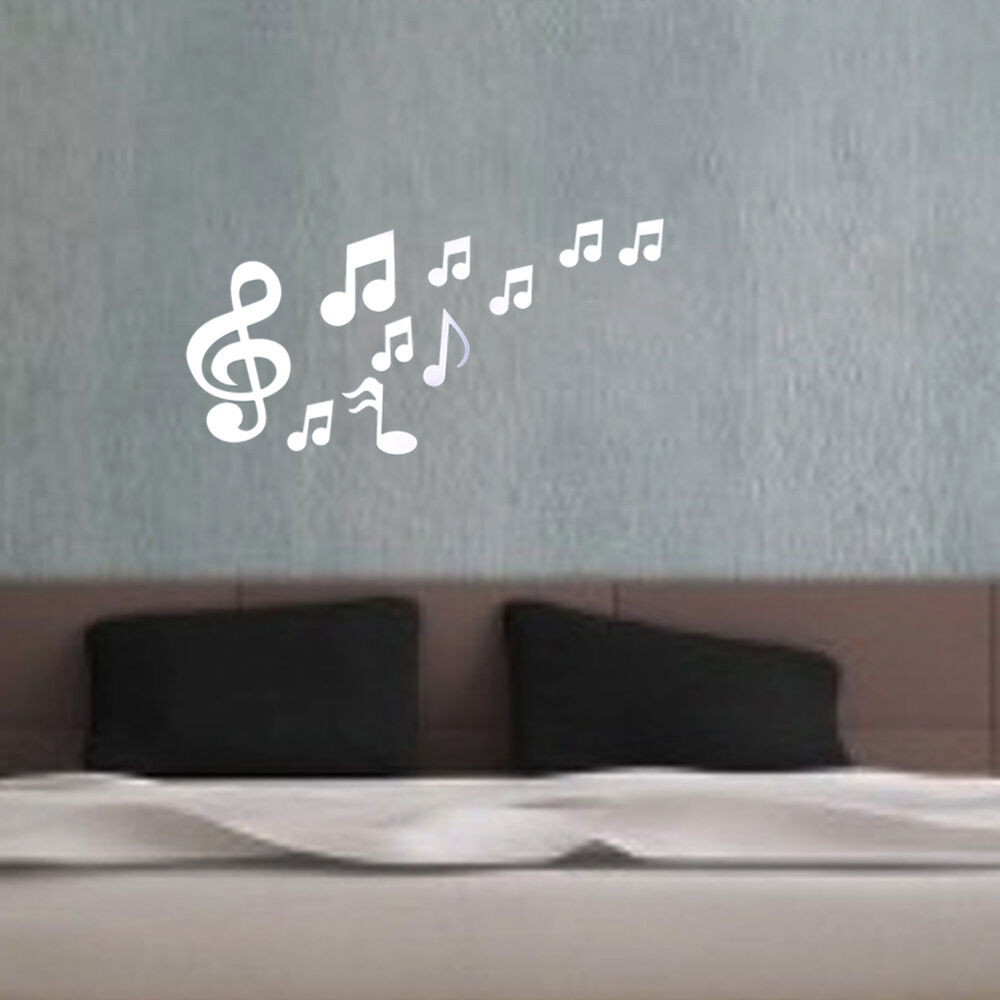 Musical notes acrylic mirrors wall sticker home decor for Miroir stickers