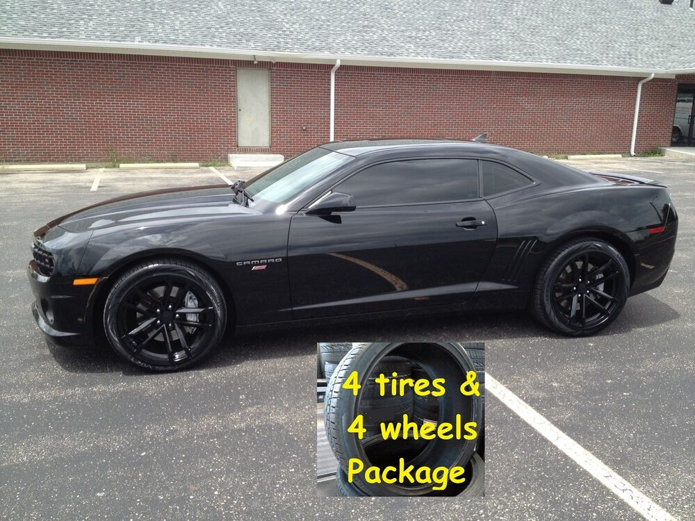 4 Tires 20x9 20x10 Stagger Set Wheels Package Gloss Black