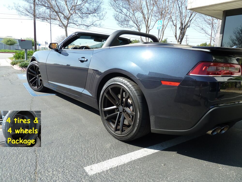 4 Tires 20x9 20x10 Stagger Set Wheels Package Satin Black