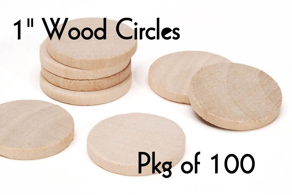 Lot of 100 1 inch wood circle craft disk pendants for Wood circles for crafts