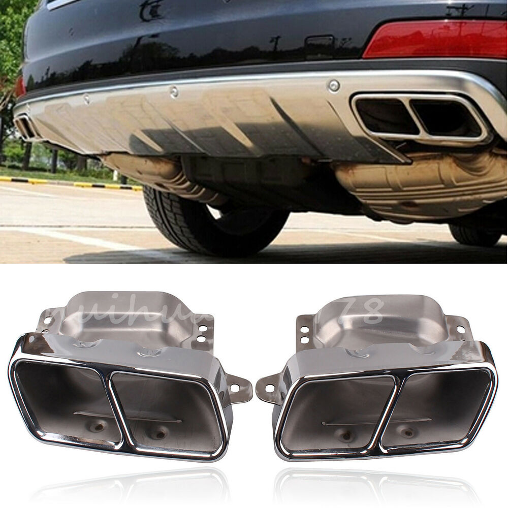 For mercedes benz dual rear exhaust pipe muffler square for Mercedes benz exhaust
