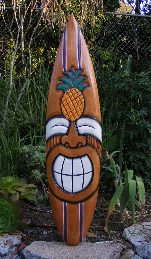 Happy Tiki Pineapple Tropical Wood Surfboard Wall Plaque