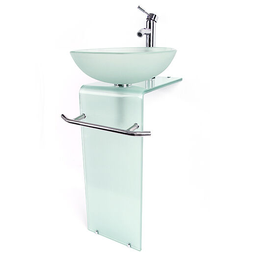 New Bathroom Vanity Pedestal Frosted Glass Vessel Sink Modern W Faucet Combo Ebay