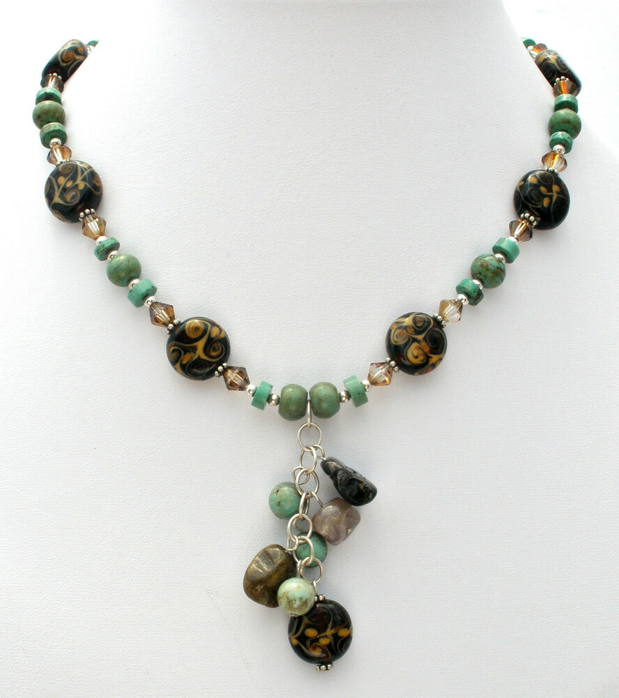 Sterling silver turquoise disc bead necklace crystal art for Turquoise colored fashion jewelry