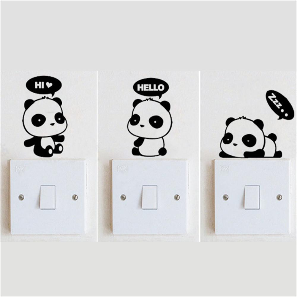 3 panda diy switch sticker wall quote wall stickers vinyl for Stickers para pared decorativos