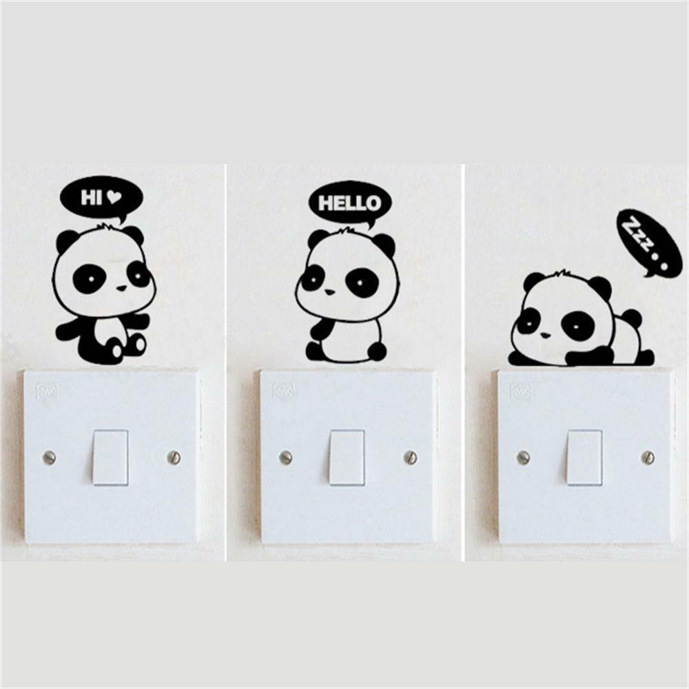3 panda diy switch sticker wall quote wall stickers vinyl panda wall sticker animal wall art