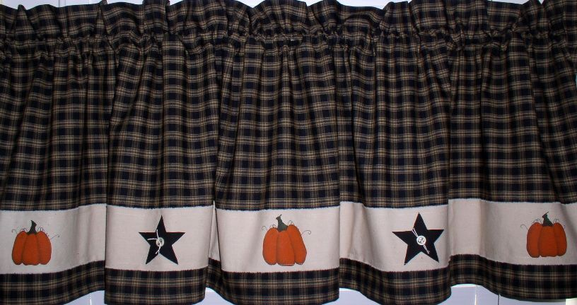 Hand Painted Pumpkins Amp Stars Valance Primitive Country