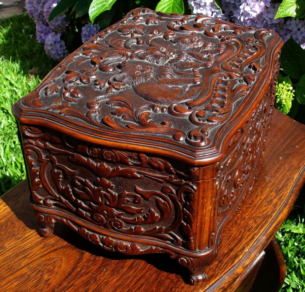 antique ornate hand carved wood jewelry box with cats ebay