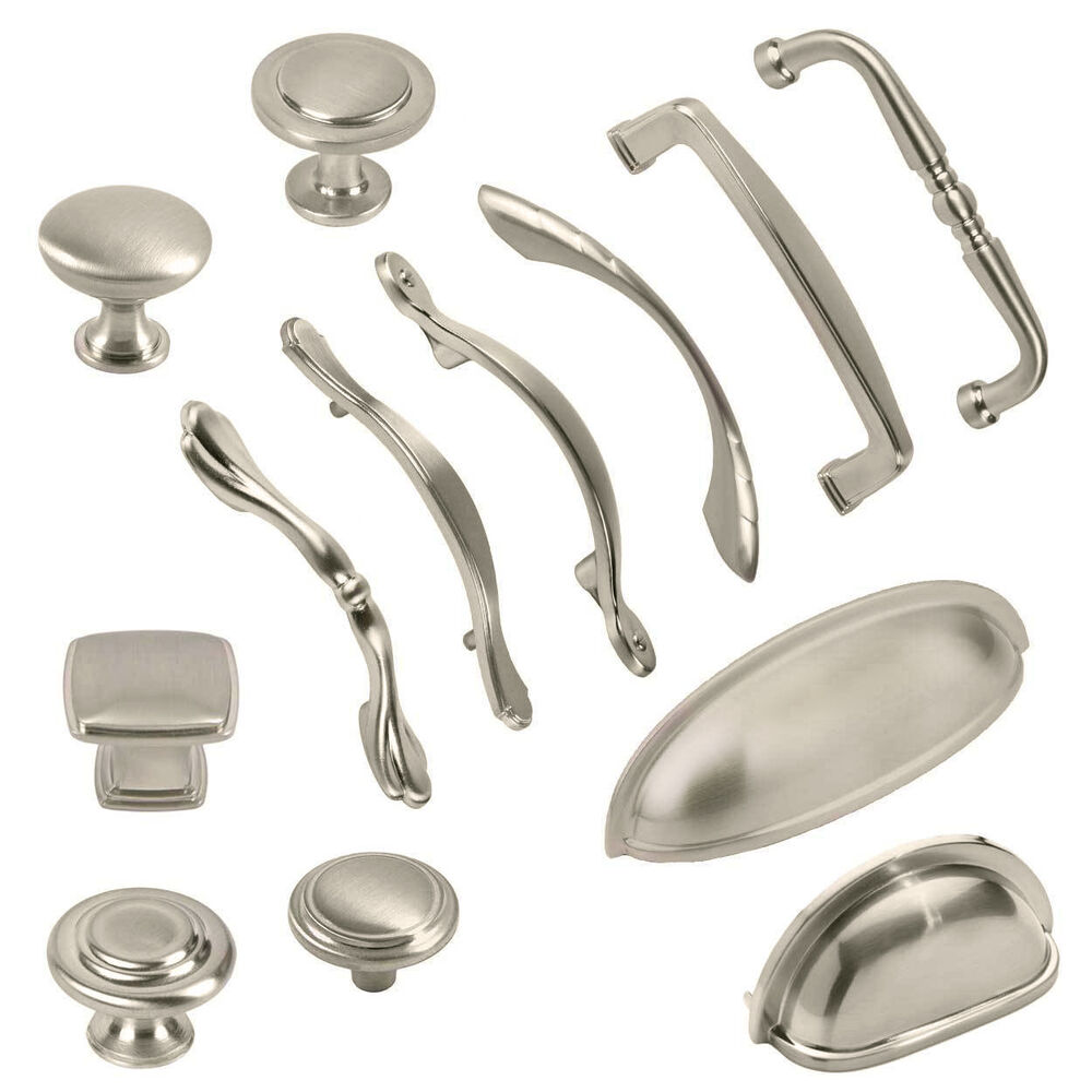 Brushed satin nickel kitchen cabinet hardware knobs bin for Kitchen cabinets handles