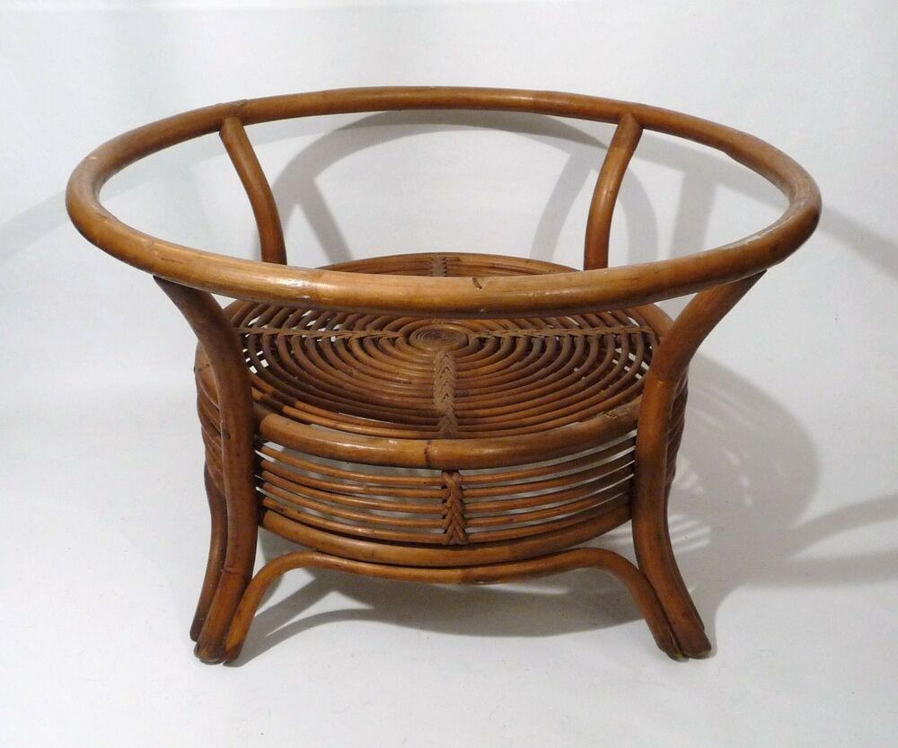 Vintage Mid Century Hollywood Regency Bent Woven Bamboo Rattan Cane Coffee Table Ebay
