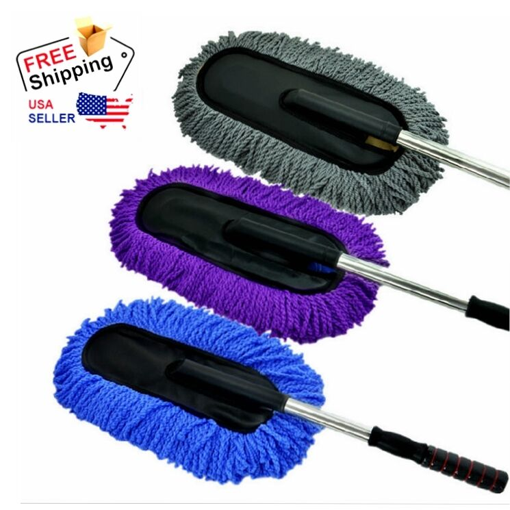 car telescoping microfiber wash cleaning brush duster dust wax mop dusting tool ebay. Black Bedroom Furniture Sets. Home Design Ideas