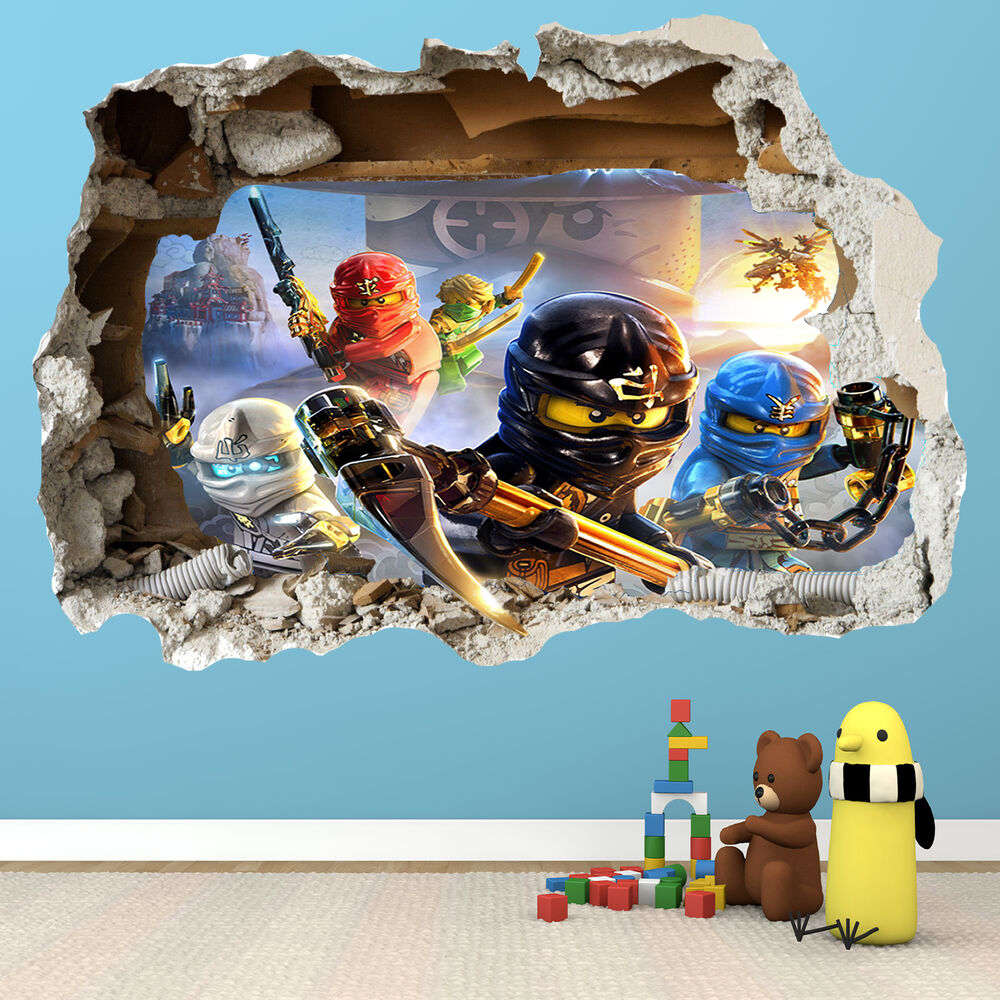 lego ninjago smashed wall sticker 3d bedroom boys girls vinyl wall art decal ebay. Black Bedroom Furniture Sets. Home Design Ideas