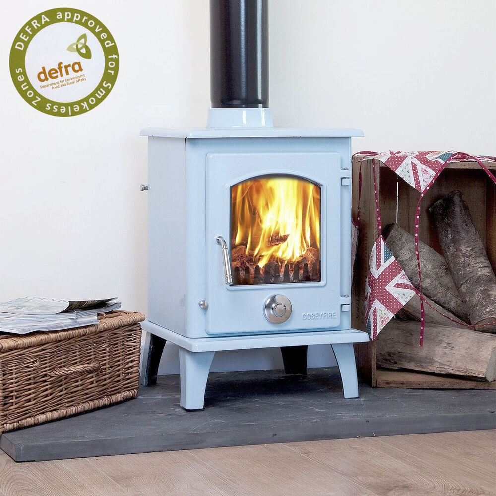 Defra Approved Blue Enamel Petit Multifuel Woodburning