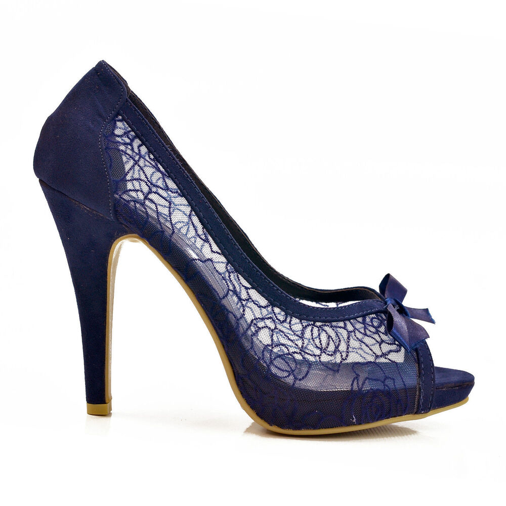 new navy blue lace peep toe high heel stiletto court shoes