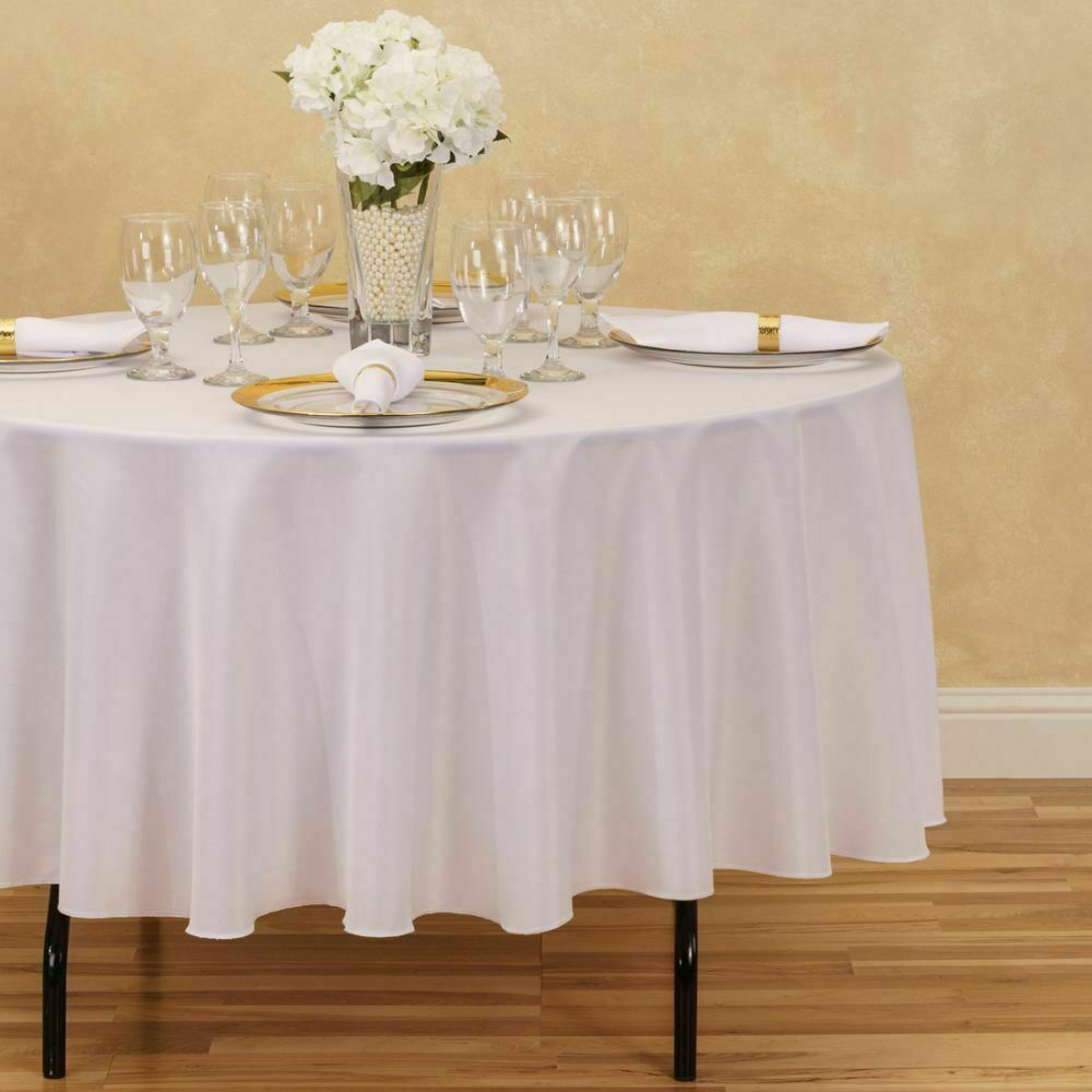 10 Pack 90 Inch Round Polyester Tablecloths White