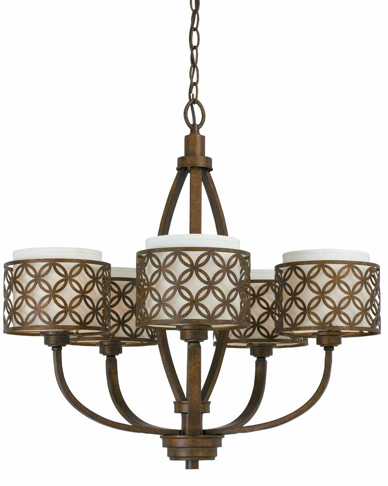 triarch orion 5 light chandelier w ivory fabric shades aged bronze finish ebay. Black Bedroom Furniture Sets. Home Design Ideas