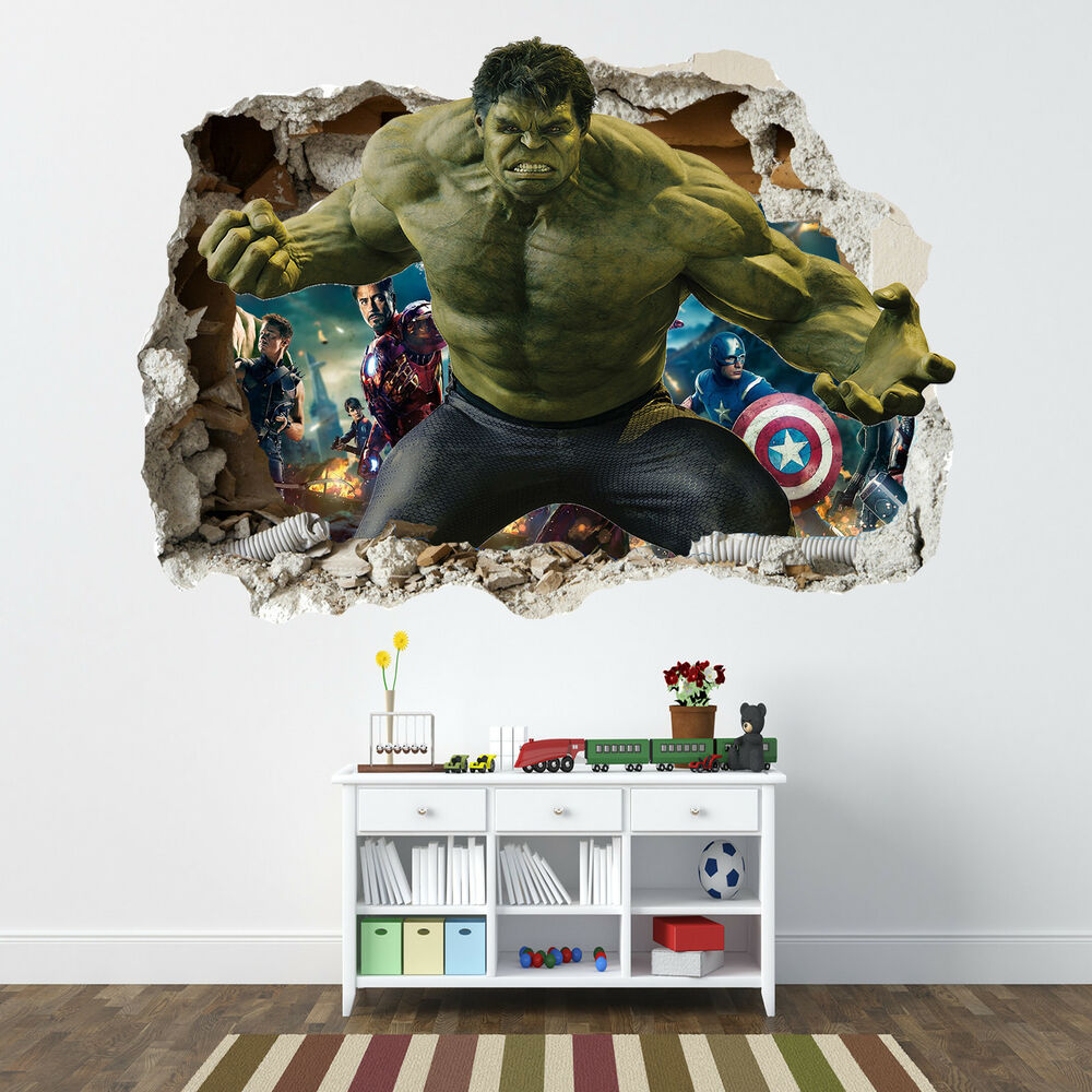 Incredible hulk smashed wall sticker bedroom boys - Posters gigantes para pared ...
