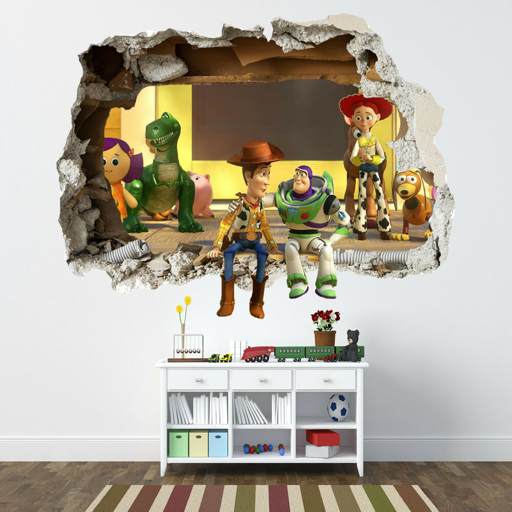 toy story smashed wall sticker bedroom boys disney vinyl wall art