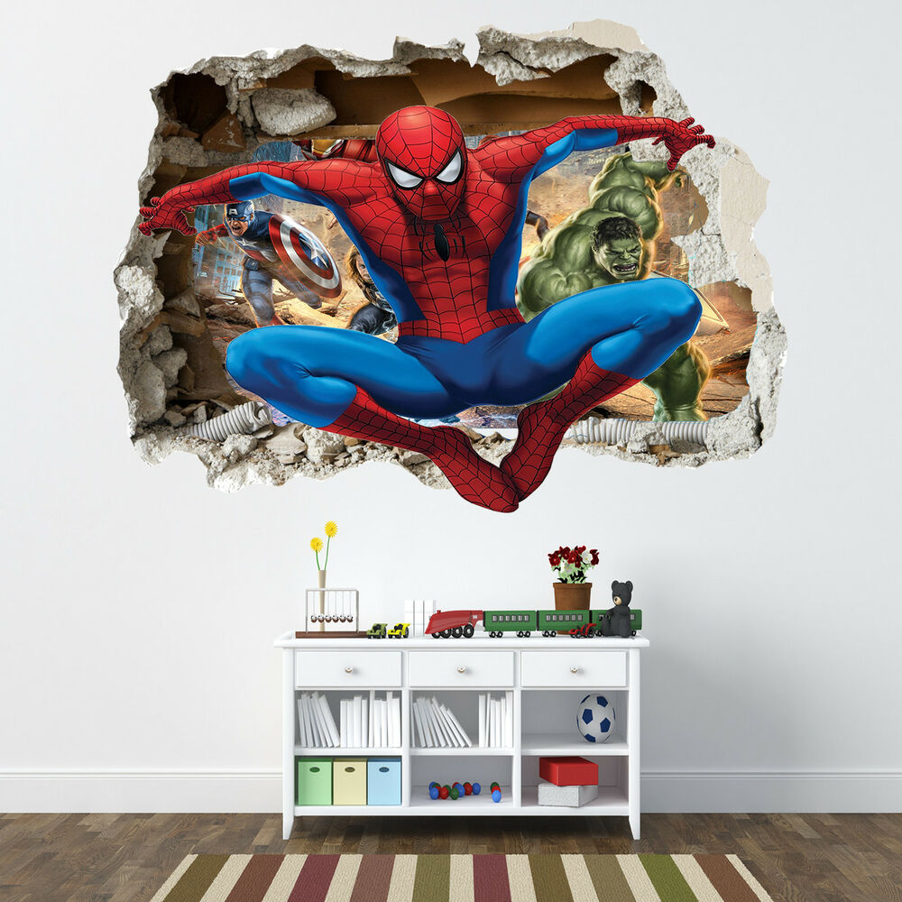 spiderman smashed wall sticker bedroom boys avengers wall stickers for boys bedrooms decorate my house