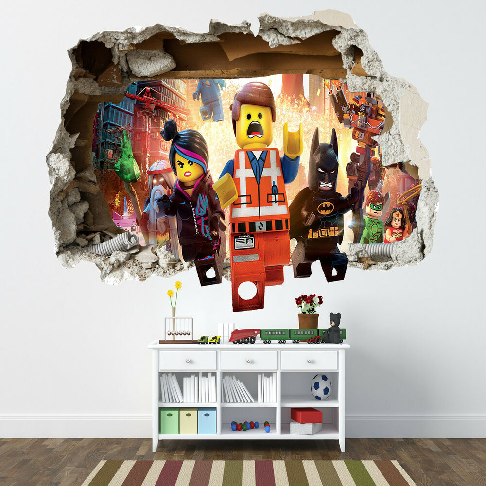 lego movie smashed wall sticker bedroom boys girls vinyl. Black Bedroom Furniture Sets. Home Design Ideas