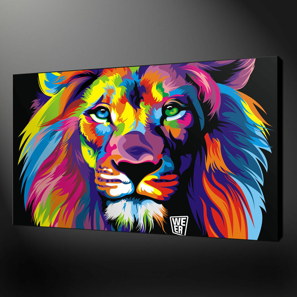 Canvas print home decor wall pictures animal lion abstract for Cheap prints and posters