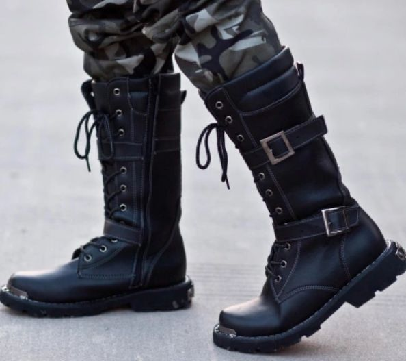 mens pu leather winter outdoor knee high combat