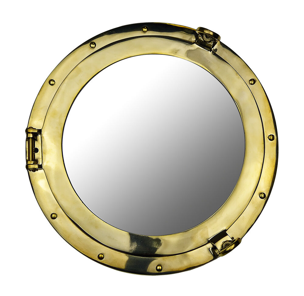 Quot solid brass porthole mirror ship nautical wall mount
