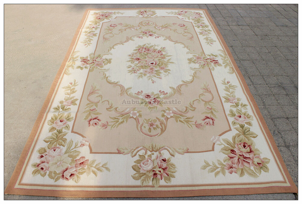 5x8 Shabby French Chic Aubusson Rug Light Pink Ivory Cream