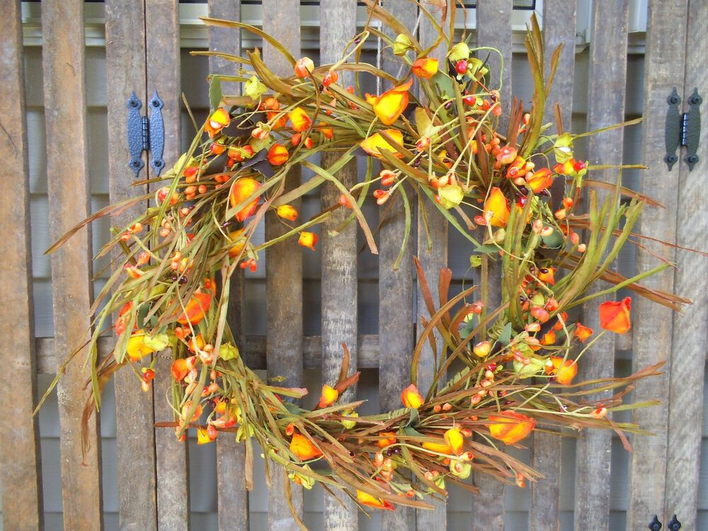Decorating Ideas > FALL WREATH ~CHINESE LANTERN ~FALL DECOR ~ RUSTIC WREATH  ~ 072643_Thanksgiving Lantern Decorations