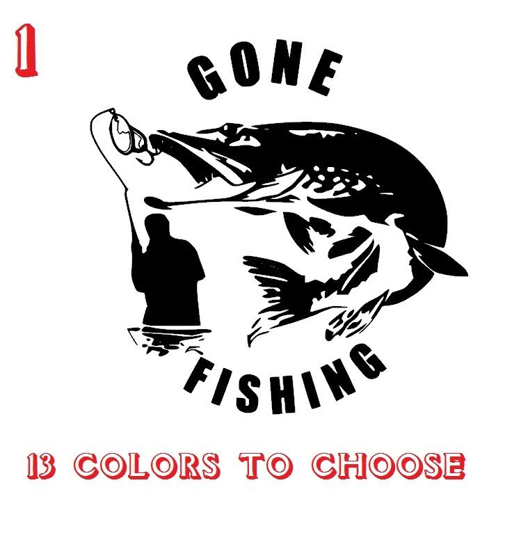 Pike fishing vinyl stickers decals car window van laptop for Fishing car stickers