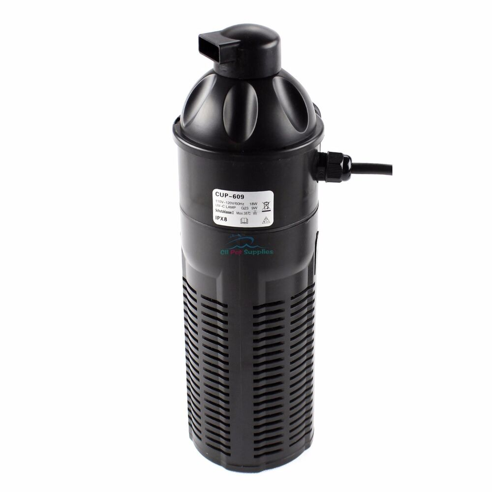 9w uv sterilizer w submersible pump filter aquarium fish for Pond pump with uv filter